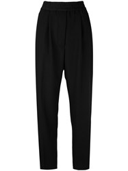 Haider Ackermann Tapered Track Pants Women Silk Cotton Rayon Wool 40 Black