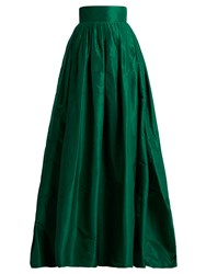 Carolina Herrera High Rise Silk Taffeta Ball Gown Skirt Green