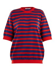 Givenchy Logo Print Striped Cotton Blend Sweater Red Multi