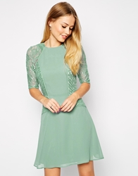 Asos Mini Skater Dress With Lace Panel Mint