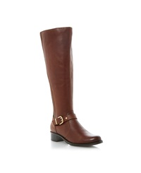 Dune Tippler Buckle Elastic Riding Boots Tan