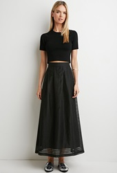 Forever 21 Pleated Shadow Stripe Maxi Skirt Black Black
