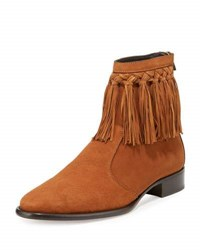 Jimmy Choo Eric Men's Dry Suede Fringe Trim Ankle Boot Tan