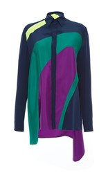 Versace Color Block Long Sleeve Shirt Blue Green Purple