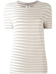 Armani Collezioni Striped Knitted Top Nude Neutrals