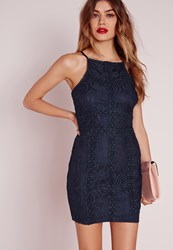 Missguided Petite Square Neck Bodycon Lace Dress Navy Blue