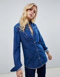 Maison Scotch Western Denim Shirt Navy