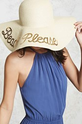 Forever 21 Beach Please Sun Hat Natural Gold
