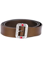 Htc Hollywood Trading Company Embossed Buckle Belt Unisex Leather 90 Brown