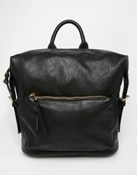 Asos Backpack With Clip Side Detail Black