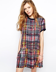 Libertine Libertine Bisous Dress In Bright Check With Peplum Hem Multi