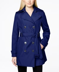 Calvin Klein Double Breasted Belted Trench Coat Royal Blue