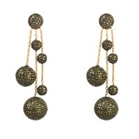 Latelita London Studio 54 Earring Oxidised Peridot Cz Gold Green