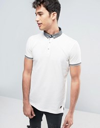 Brave Soul Polo Shirt With Woven Collar Beige