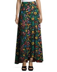 Alice Olivia Athena High Low Floral Maxi Skirt Multicolor