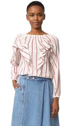 Intropia Striped Ruffle Blouse Red Stripe