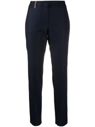 Peserico Cropped Slim Fit Trousers Blue