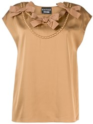 Boutique Moschino Bow Detail Top Neutrals
