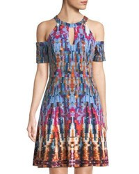 London Times Cold Shoulder Fit And Flare Dress Multi Pattern