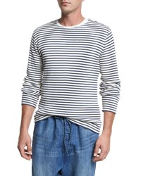 Vince Raw Edge Striped Knit Cotton Crewneck Sweater Off White Navy