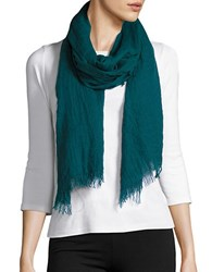 Lord And Taylor Fringed Scarf Green
