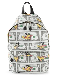 Moschino Mouse And Dollar Print Backpack Red