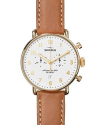 Shinola 43Mm Canfield Chronograph Watch White Tan