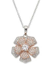 Giani Bernini Cubic Zirconia Pave Spin Flower 18 Pendant Necklace In Sterling Silver And 18K Rose Gold Plate Created For Macy's Silver Ros