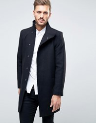 Only And Sons Asymmetric Overcoat Black