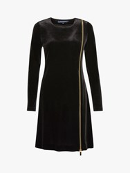 French Connection Zella Aurore Velvet Zip Mini Dress Black