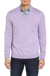 Nordstrom Men's Big And Tall Men's Shop Cotton And Cashmere V Neck Sweater Purple Sage Heather