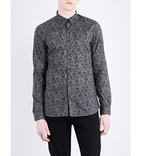 The Kooples Skull Print Fitted Cotton Shirt Kak01