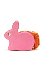 Hillier Bartley Bunny Leather And Hair Clutch Pink