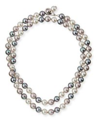 Majorica Multihued Simulated Pearl Necklace White Gray 34