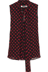 Mcq By Alexander Mcqueen Pussy Bow Polka Dot Chiffon Blouse Black