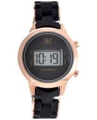 Inc International Concepts I.N.C. Digital Boyfriend Rose Gold Tone And Silicone Bracelet Watch 36Mm Black