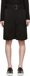 3.1 Phillip Lim Black Twill Belted Shorts