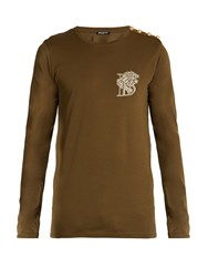 Balmain Logo Embroidered Long Sleeved Cotton T Shirt Green