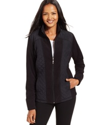 Style And Co. Sport Petite Mixed Media Zip Up Track Jacket Only At Macy's Deep Black