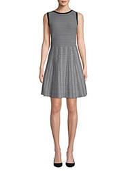 Saks Fifth Avenue Black Pattern Fit And Flare Dress Black White