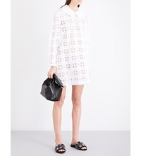 Simone Rocha Peter Pan Collar Broderie Anglaise Mini Dress White