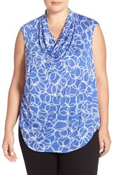 Plus Size Women's Halogen Drape Neck Sleeveless Top Blue Grey Rings Print