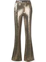 Ainea Flared Sequin Trousers Gold
