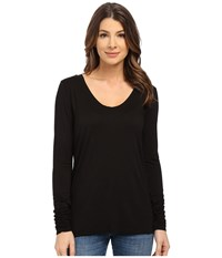 Splendid Rayon Jersey Long Sleeve Scoop Neck Black Women's Clothing