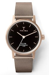 Triwa Elva Mesh Strap Watch 28Mm Rose Gold Black Rose Gold