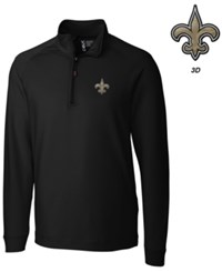 Cutter And Buck Men's New Orleans Saints 3D Emblem Jackson Overknit Quarter Zip Pullover Black