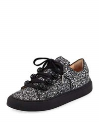 Carven Glitter Dome Studded Low Top Sneakers Black Gray