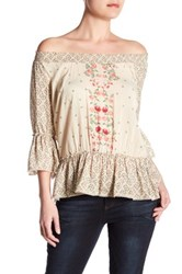 Democracy Floral Bell Sleeve Blouse Brown