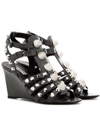 Balenciaga Arena Leather Wedge Sandals Grey