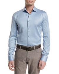Ermenegildo Zegna Cotton Silk Long Sleeve Sport Shirt Light Blue